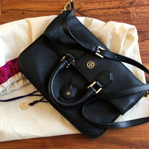 Tory Burch Robinson Pebbled Fold-Over Messenger